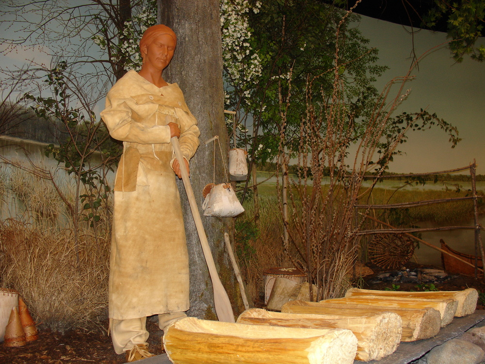 Museum depiction of stone age maple sugar harvest.