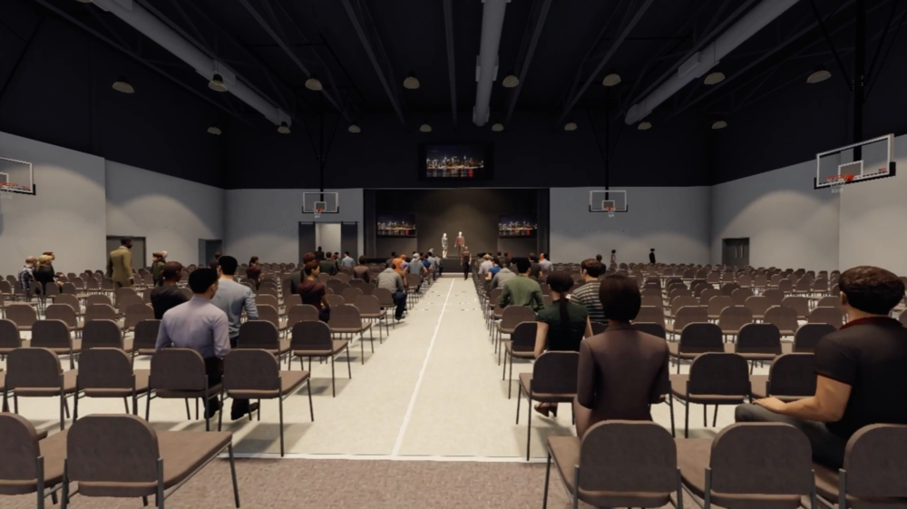 The gymnasium converts to a large auditorium. This is where Southern Hills worships every Sunday. -