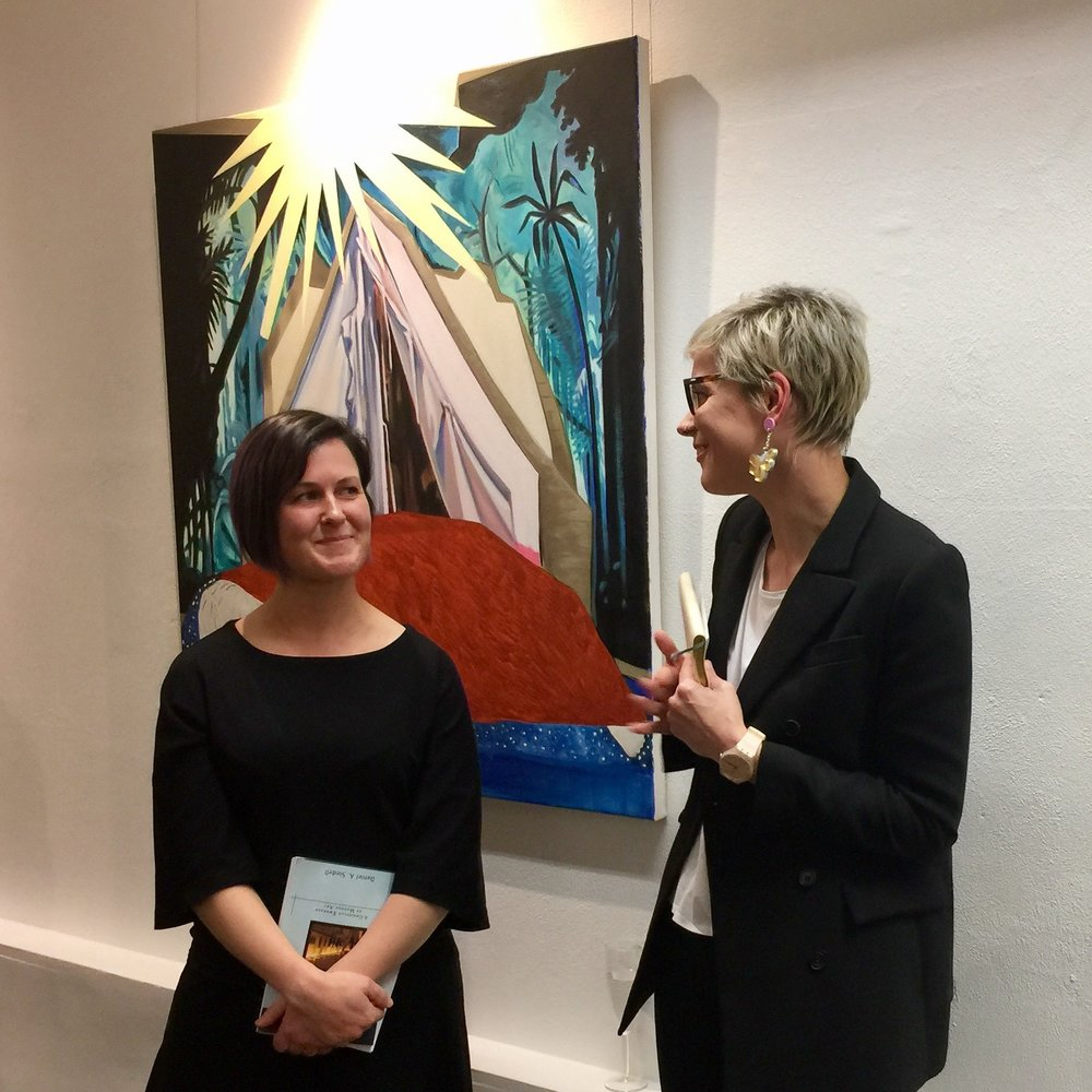 Jo (left) with ADM Senior Research Fellow, Dr Alix Beeston (right) at the  Numbering Stars  artist talk in the Thienny Lee gallery.