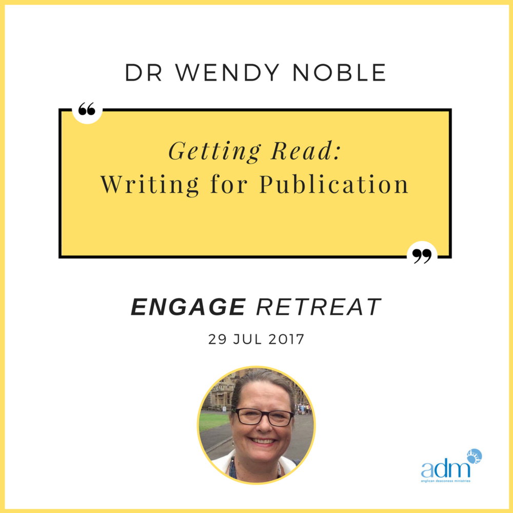 ENGAGE  |  Retreat – Getting Read: Writing for publication    SPEAKER:  Dr Wendy Noble (Applied Linguist & Director of 'Noble Academic Writing')   SAT 29 JUL 2017   This workshop is particularly targeting participants who are working on a potentially publishable piece of writing, and will be limited to 20 participants. During this retreat, we will practise the strategies of highly productive writers, discuss challenges to your writing, strategies you have found useful, and also your specific writing goals. The day will consist of writing blocks punctuated by short input sessions and opportunities for small group feedback.  Booklet and a catered lunch is provided. This Engage Retreat will be held at ADM's Sydney offices.