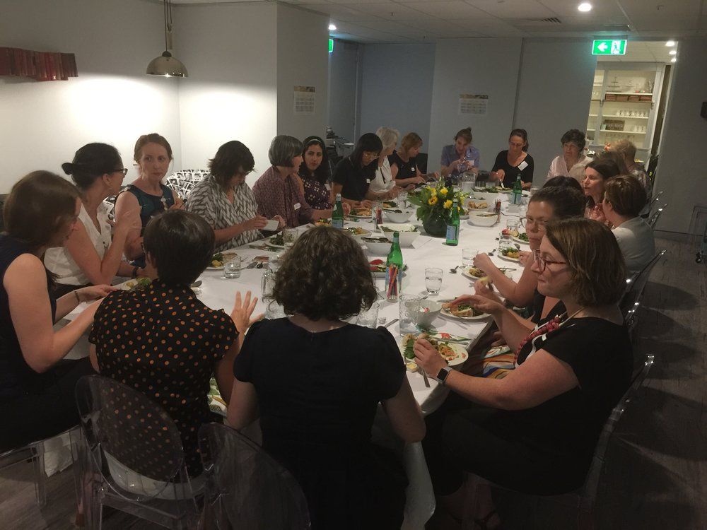 About 30 women gathered for the mentoring dinner with Prof. Lynn Cohick on 'Flourishing in the Academy and the Church'.