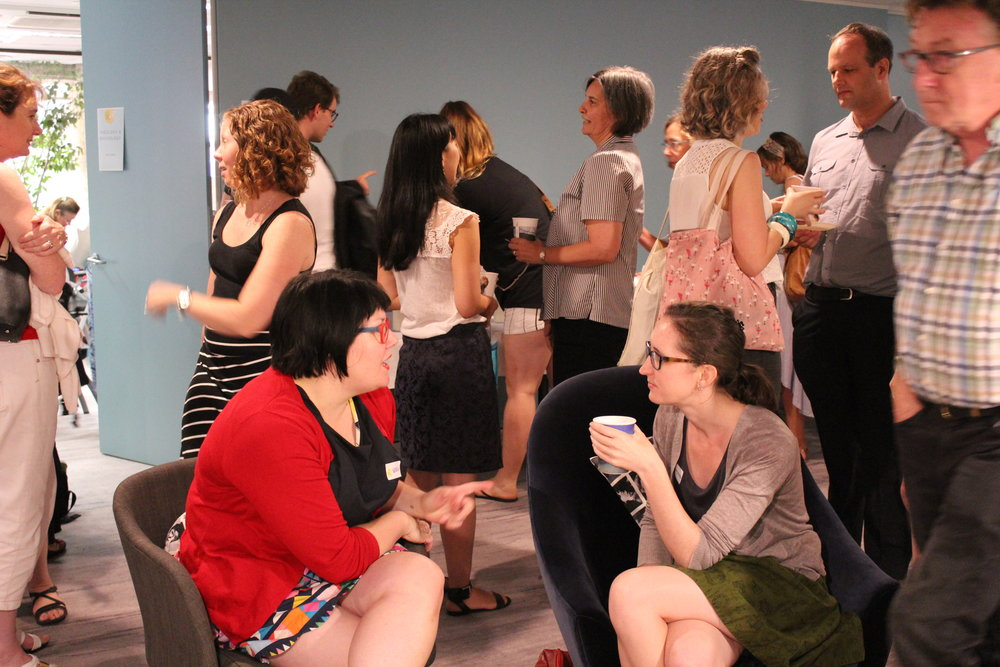 STCPE participants made the most of morning tea, lunch and afternoon tea breaks to discuss what they were learning.