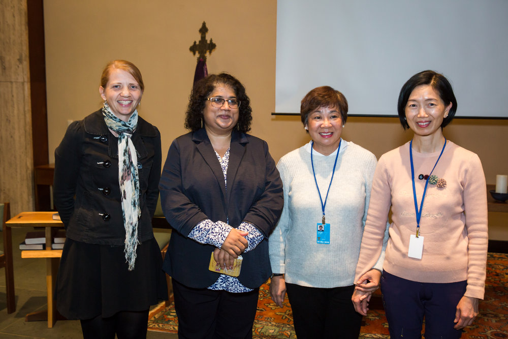 Ruth (left), with human rights defender Sameena Nazir (second from left) and two other delegates at CSW26