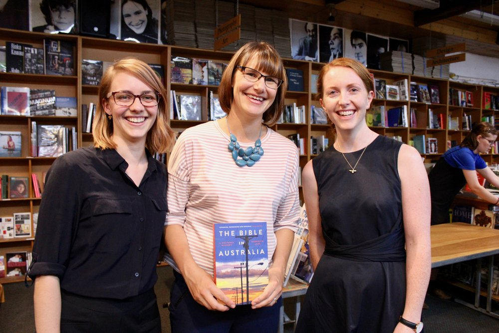 From left to right: Dr Annette Pierdziwol, ADM Fellowships Manager, Dr Meredith Lake, Author of 'The Bible in Australia' and ADM 2017 Senior Research Fellow, Dr Kate Harrison Brennan, CEO of ADM at the launch of 'The Bible in Australia' at Gleebooks