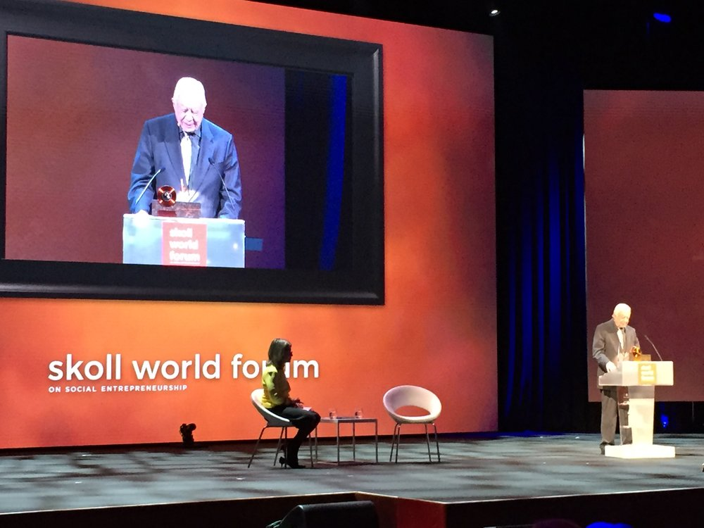 Keynote speaker, President Jimmy Carter, addresses the Skoll World Forum.