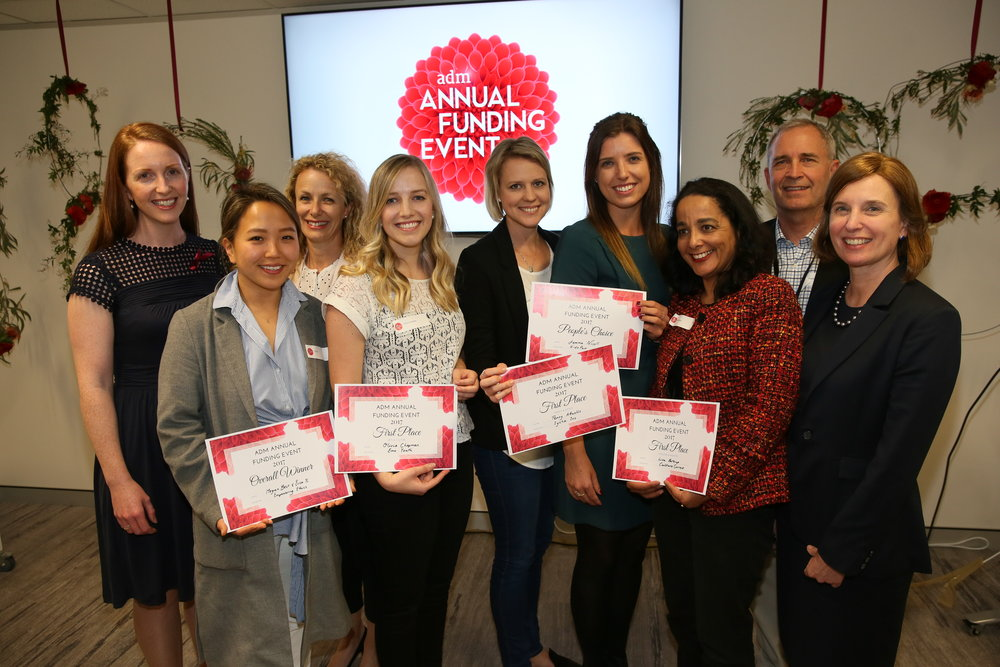 The 2017 Annual Funding Event winners, with members of the ADM team. From left to right: Kate Harrison Brennan (ADM CEO), Erica Yi (Empowering Ethics)., Julianne Jones (ADM Director), Olivia Chapman (Emu Youth), Penny Attwells (Iysha Inc), Jemma Nicolls (KidsPace Code), Lisa Bateup (CultureConnect), Phil Wheeler (ADM Director), Megan Best (Empowering Ethics).