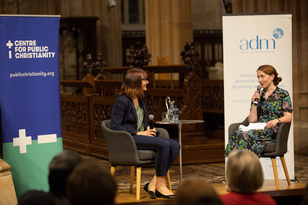Dr Meredith Lake and ADM CEO, Dr Kate Harrison Brennan, during the Q&A session that followed the lecture.