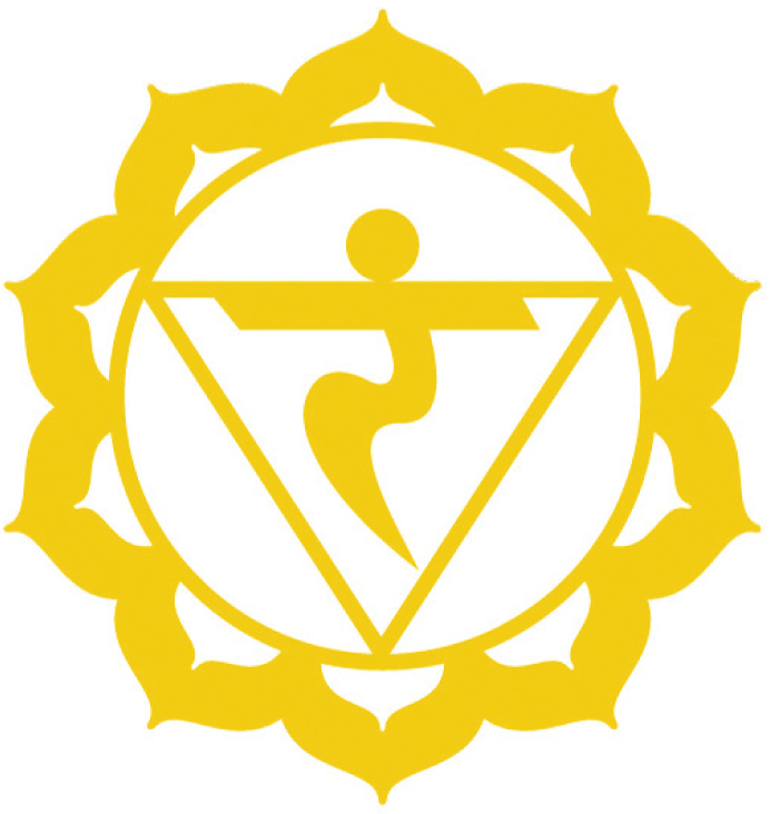 Manipuris Chakra (The Solar Plexus Chakra)   The Solar Plexus/3rd Chakra (Yellow) is located just below your sternum and represents energy, vitality and ambition.  Element - Fire  Location - Belly  Color - Yellow  Organs - Digestive system, kidneys, liver  Related to - Confidence, determination, transformation  Over active - Aggressive, Bossy  Under active - Cowardly, weak willed  Demon - Shame  Right - To Act