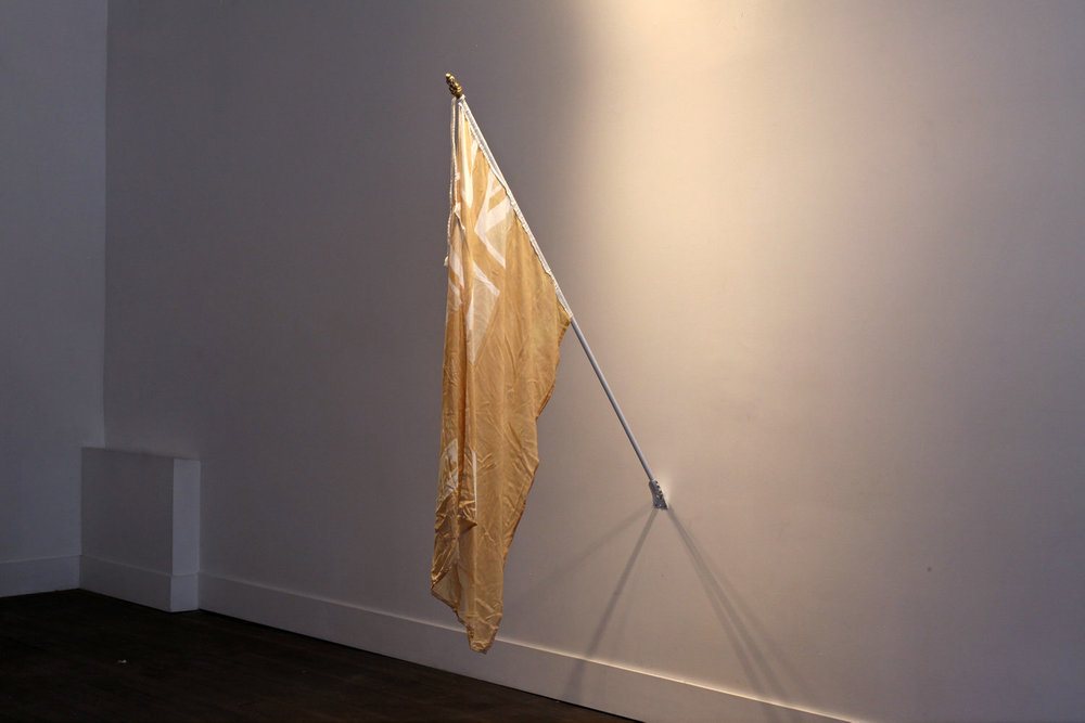 Hand-Bleached Candian Red Ensign (1920c.), Handmade Gold Beaver Finial, Flag pole and bracket. 2017.