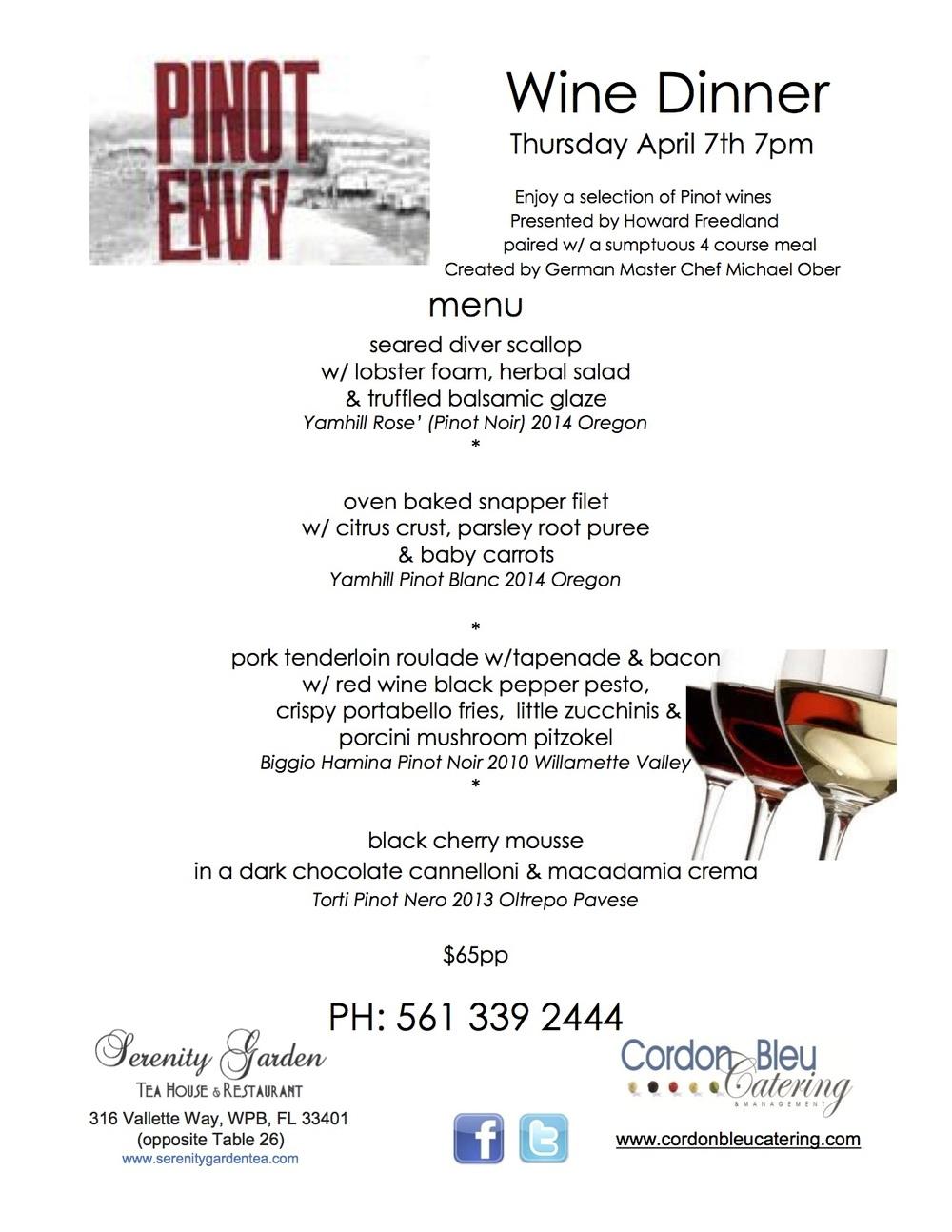 Pinot Wine Envy Dinner