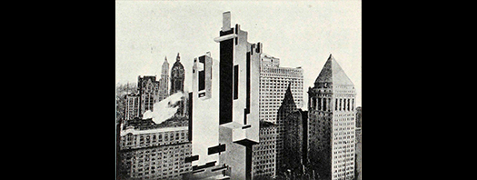 Foto: Architekton in Front of a Skyscraper (Suprematist transformation of New York). Fuente: Revista Praesens N°1, 1929. Pág 28.