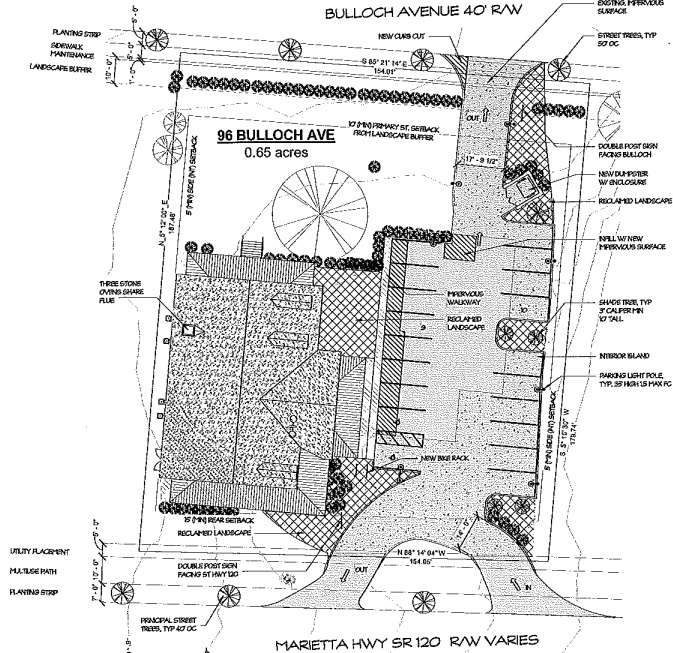 Site Plan oriented with Bulloch Ave on the top and 12 on the bottom.