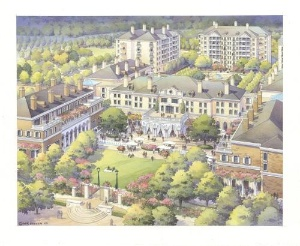 Prospect Park's proposed central green in front of the hotel.