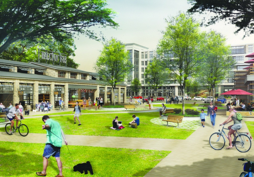 Rendering of the central square and market area at HALCYON.