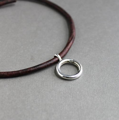 Ring holder brown leather cord necklace sterling silver pendant ring holder brown leather cord necklace sterling silver pendant holder aloadofball Images