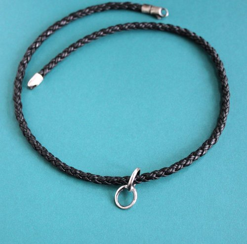 Ring holder black braided cord necklace sterling silver pendant ring holder black braided cord necklace sterling silver pendant holder aloadofball Gallery