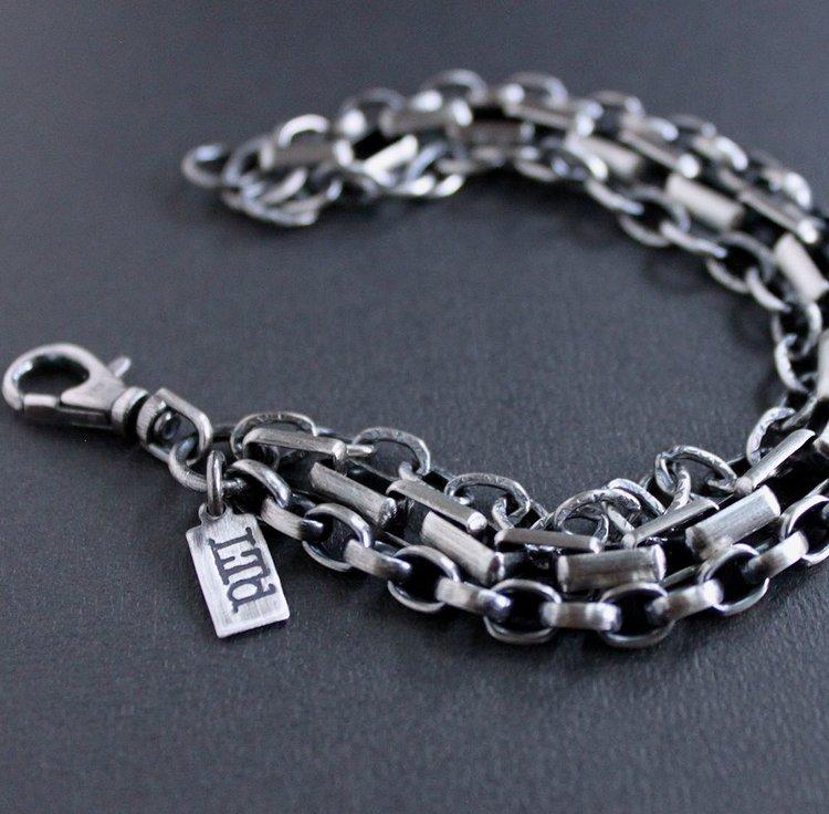 Men\'s Heavy Mixed Chain Silver Bracelet — Lynn Todd Designs