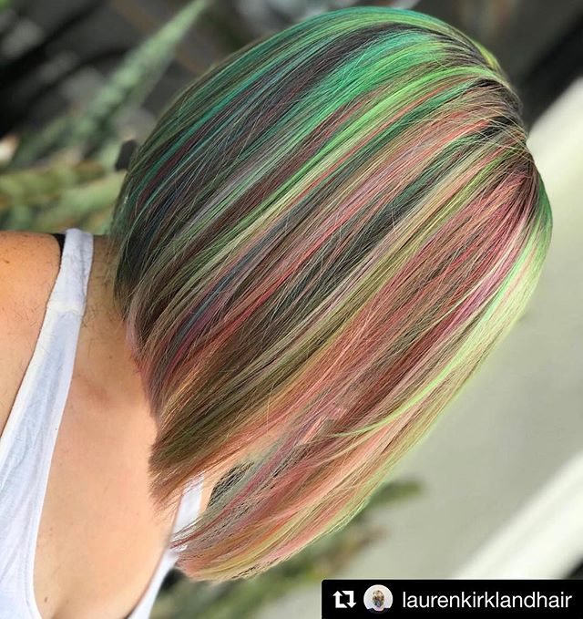 #Repost @laurenkirklandhair ・・・ Unicorn hair is so magical. This is the same color/cut from yesterday just straight. And it's still soooo satisfying. . . . . #sessionshaircompany #laurenkirklandhair #btcpics #behindthechair #americansalon #modernsalon #hairbrained  #pulpriot #pulriotblondeaf #rainbowhair #unicornhair #daytonabeachhairdresser #daytonabeachhair #portorangehair #saloncentric