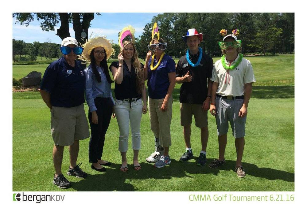 GSDC's Bill Kemp, Jiaqi Zhai, Bella Jorgenson and Danny Sertich pose with Falcon Bank friends at the CMMA Golf event.