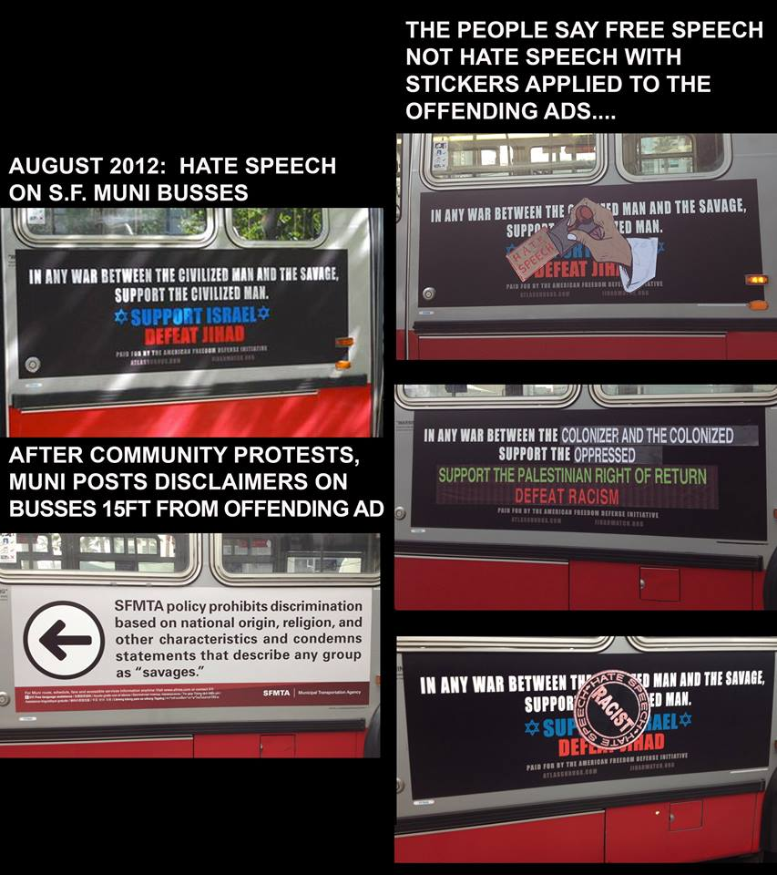 Labeling the AFDI bus ads as racist hate speech, 2012.