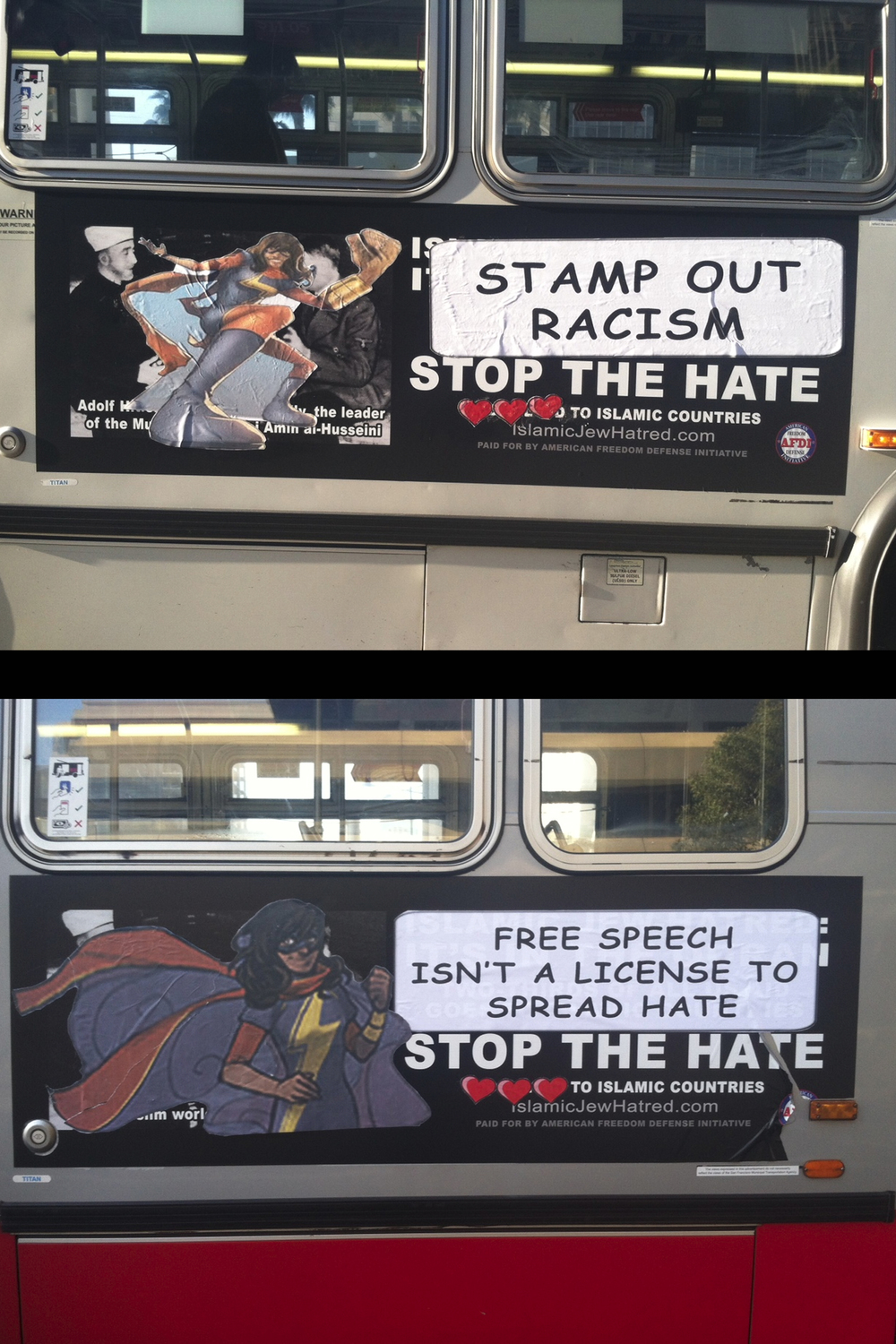 Labeling the AFDI bus ads as racist hate speech, 2015.