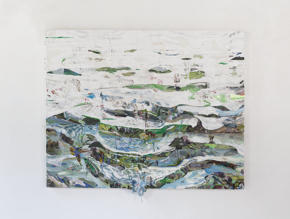 Tiers,  2015, oil, notebook paper, golf course calendars, skin whitening soap boxes, photos, and plastic on board, 48 x 60 x 2 inches