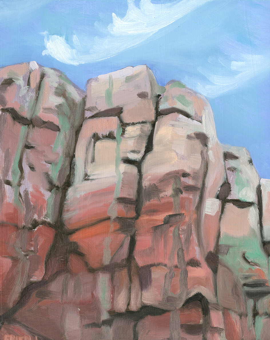"Weeping Rocks   Oil on Masonite   7"" x 7""    Purchase print"