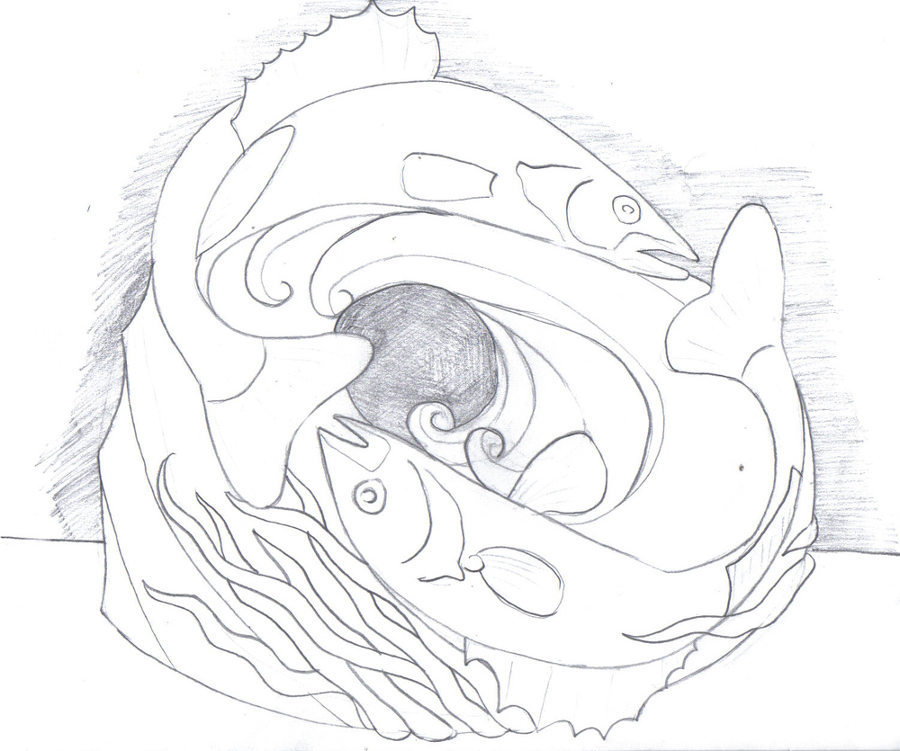 Working sketch for  Mobius Fish    8'x8'x8'  Snow Sculpture  St. Paul Winter Carnival   2014