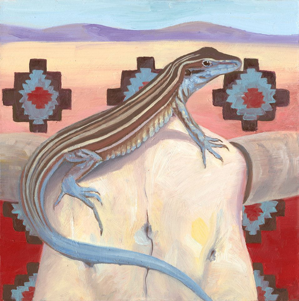 "Whiptail Lizard   Oil on Masonite  7"" x 7""    Purchase print"