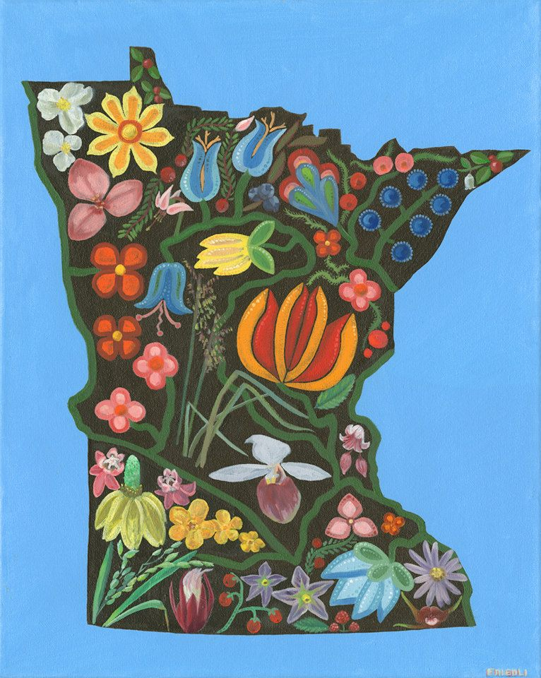 "Minnesota Floral   Oil on Canvas   16"" x 20""    Purchase Print      Purchase Tee Shirt        This piece was commissioned by my mother who is gifting it to the chief of the tribe she works for. Here Minnesota is pictured with both traditional native Woodlands style flowers, and representational native flowers of Minnesota...   Read more . .."