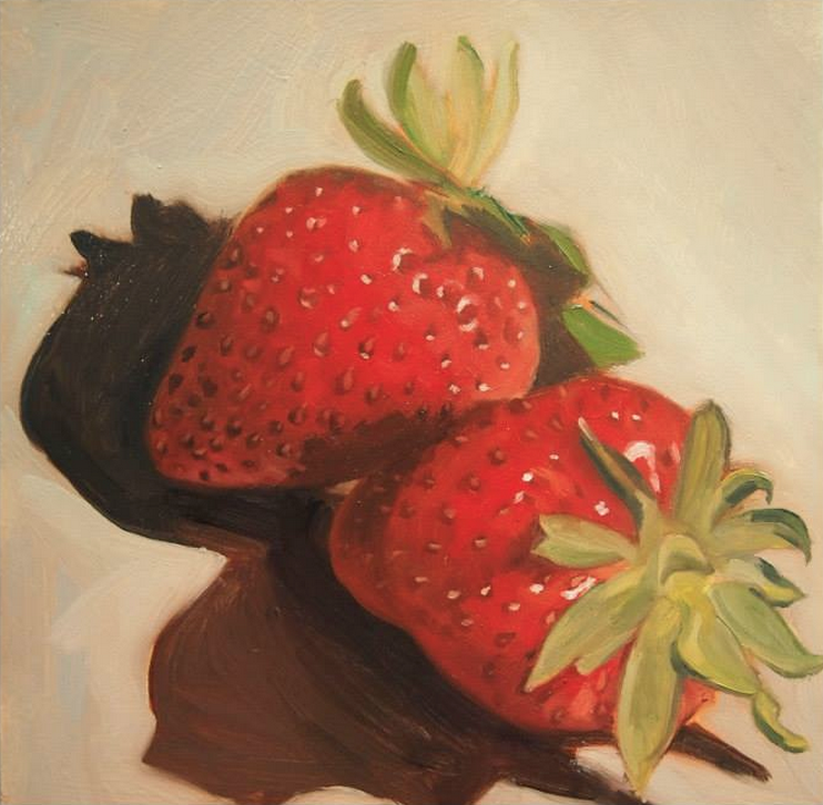 "Strawberries   Oil on Masonite  7"" x 7"""