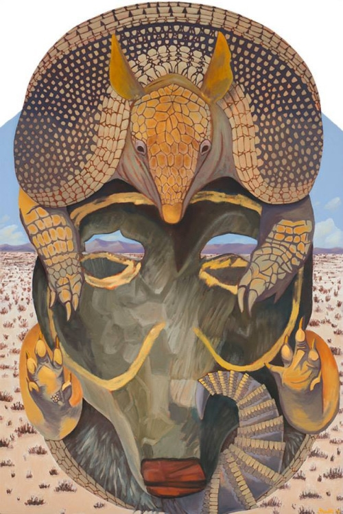 """Song of My Sonoran Grandmother   Oil on Shaped Masonite  24"""" x 36""""    Purchase print       The idea for this piece came to me in several dreams. In one dream, the armadillo was curled around a mask. In another dream, my paternal grandmother was looking for me...    Read more..."""