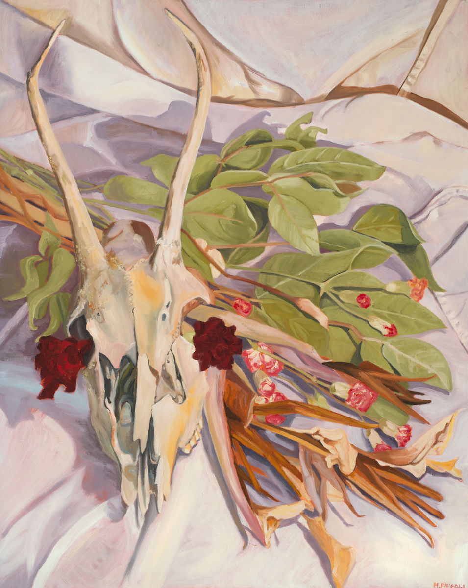 """Deer Skull with Dried Bridal Bouquet   Oil on Canvas  24"""" x 30""""    Purchase Print       This bouquet was the one used in my own wedding in April of 2011. In the bouquet's freshly cut prime it boasts of fertility, beauty, happiness and growth...   Read more  ..."""