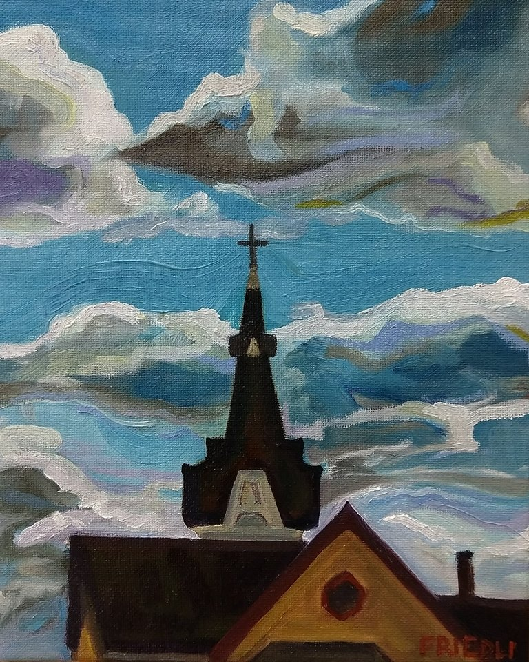 "Clouds and Cross   2018  8""x10"" Oil on Canvas Available $360 Limited Edition Giclee Prints Available"