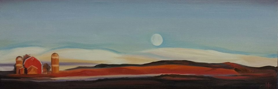 "Farm at Moonrise   2018  8""x24"" Oil on Canvas  SOLD   Limited Edition Giclee Prints Available"