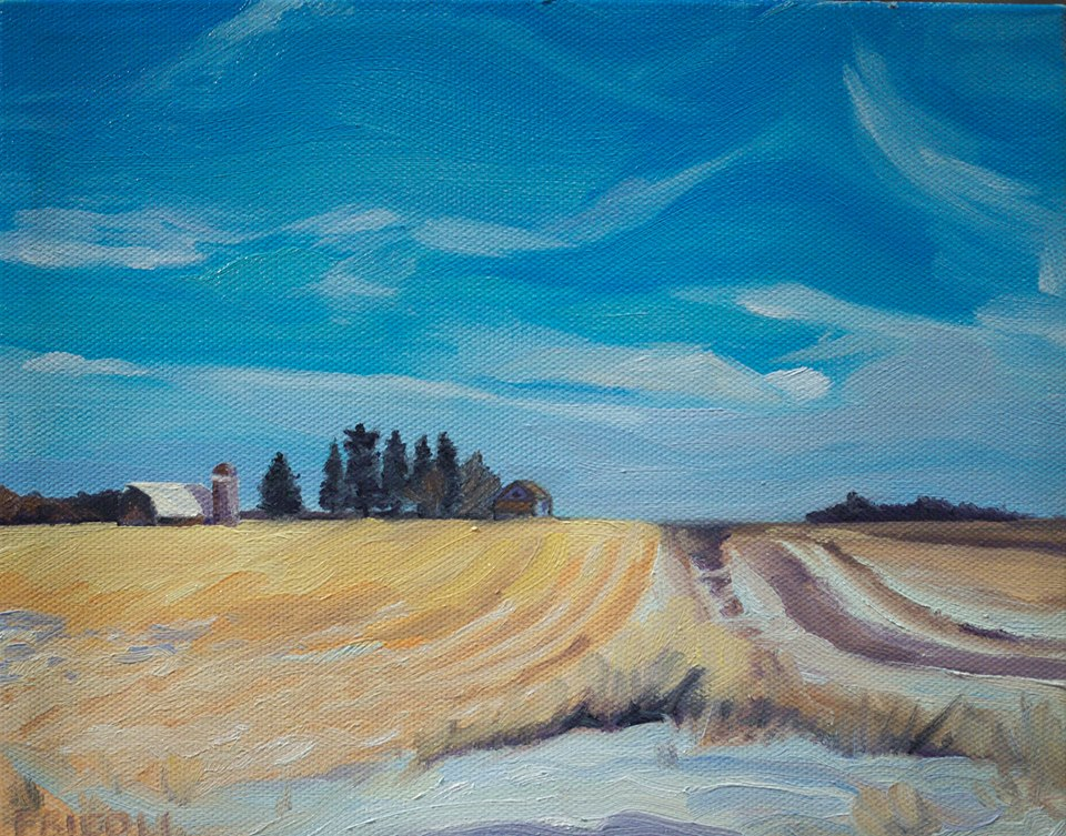 "Field and Sky   2018  8""x10"" Oil on Canvas SOLD   Limited Edition Giclee Prints Available"