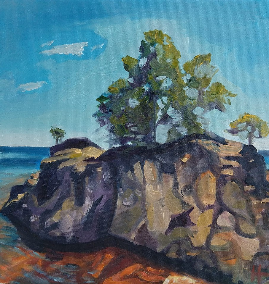 "Rocks on Lake Superior   2018  8""x8"" Oil on Canvas  Available  $320  Limited Edition Giclee Prints Available"