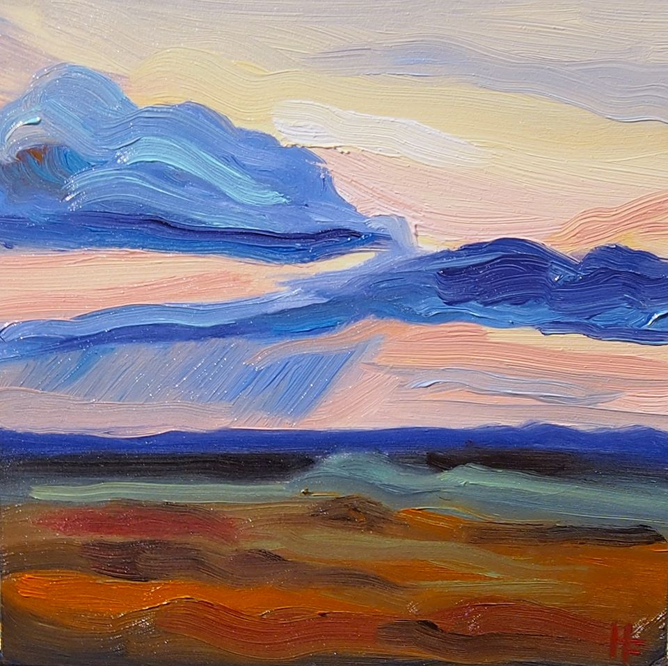 "Prairie Sunset   2018  5""x5"" Oil on Board  Available  $200   Limited Edition Giclee Prints Available"