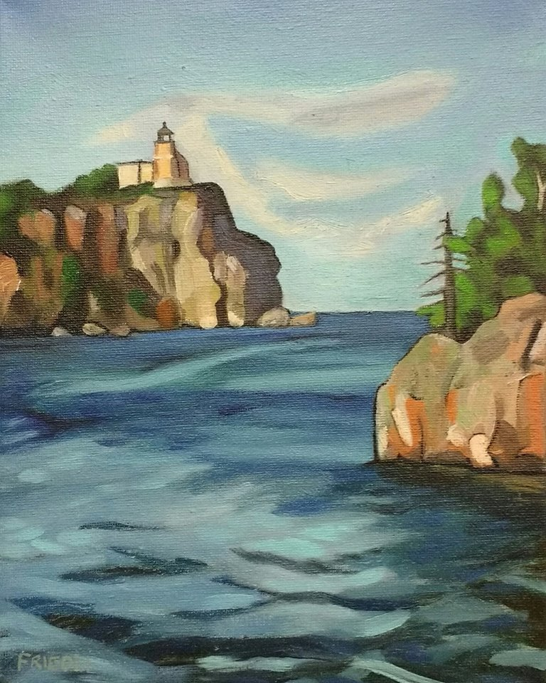 "Split Rock Lighthouse   2018  8""X10"" Oil on Canvas  SOLD    Limited Edition Giclee Prints Available"