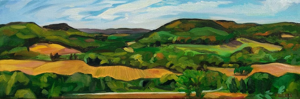 "View from Wagner's Hill   2017  8""X24""  Oil on Canvas  SOLD    Limited Edition Giclee Prints Available"