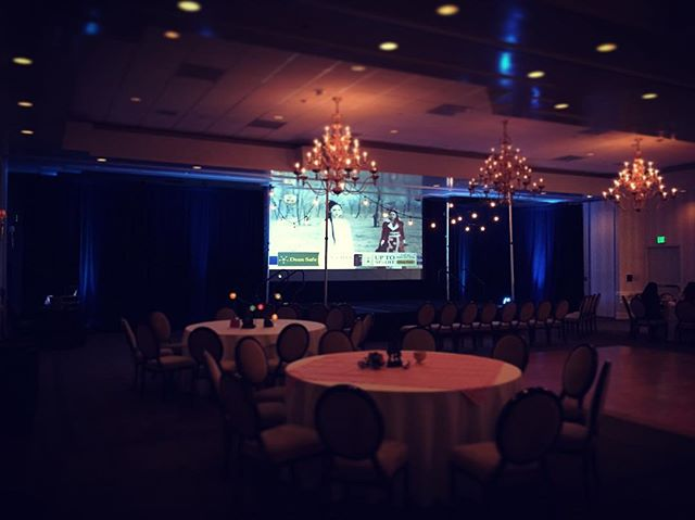 Here is our set for the Birthday Luncheon at the Sheraton today. What a blast it was celebrating with everyone! . . . #teamwork #simplyimagine #audio #visual #lighting #uplights #screen #projector #laverne #sheratonhotel #birthday #celebration