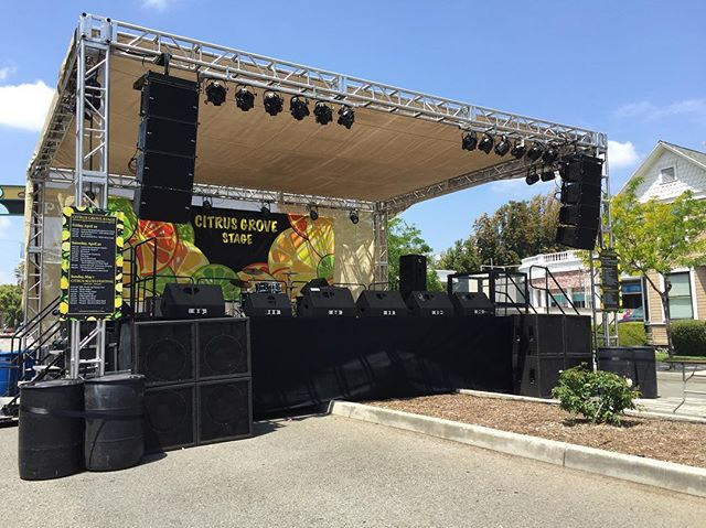 Stage set and ready for the Lemon Festival. Who is going this weekend? We hope to see you there! . . . #simplyimagine #stagesetup #lighting #speakers #show #entertainment #audio #visual #upland #lemonfestival2016