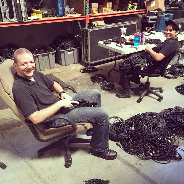 #funfriday in the warehouse means Bryan and Brittany fixing cable! How is everyone else spending their Friday? . . . #audio #video #lighting #cable #bryan #brittany #proav #laverne #simplyimagine #TGIF