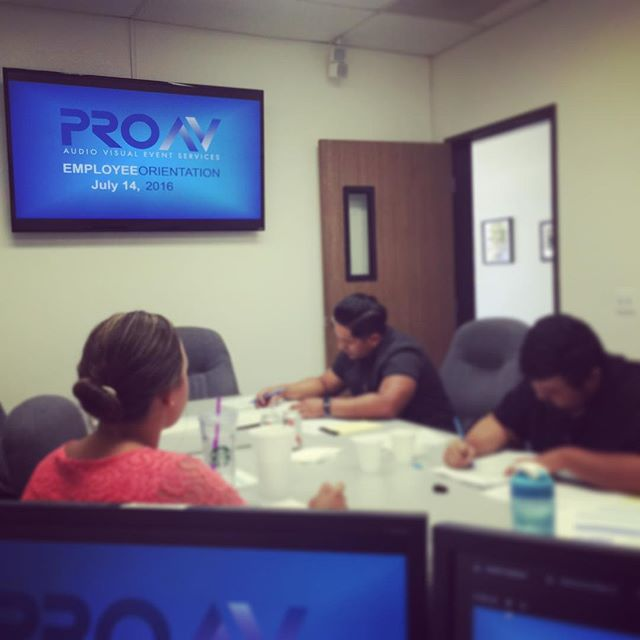 We are welcoming new members to the PROAV team today! Employee Orientation is always exciting. . . . #simplyimagine #laverne #proav #audio #video #design #lighting #stageset #eventprofs #corporateevents #eventproduction #uplighting #avproduction #orientation #newemployee #employee #welcome #welcometothefamily #team