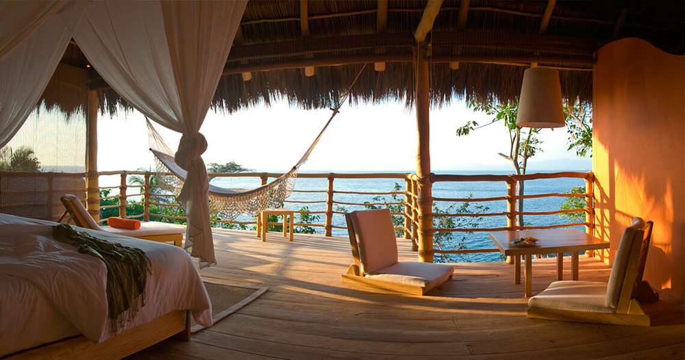 Accomodation - All of the casitas and rooms are spacious at Xinalani Retreat, palm-thatched roofed cabins built on stilts.They were designed with, built and elegantly furnished by local artisans. We know you'll love their calm and serene energy.