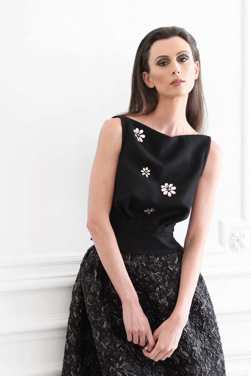 Florianne - Pure new wool embellished with Swarovski crystals top Silk blended jacquard embellished with Swarovski crystals skirt.