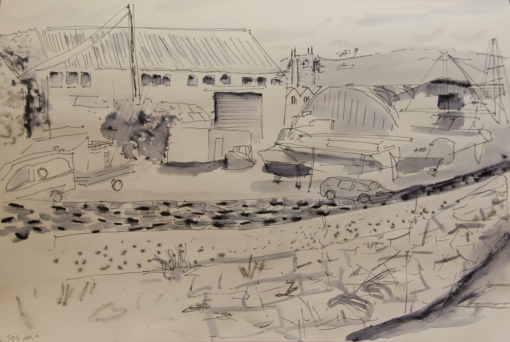 Hayle Harbour pen and Ink