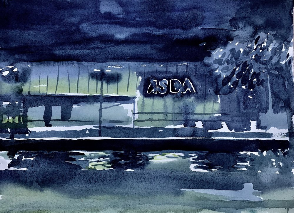 Early morning water colour on Hannemulhe paper.  Hayle Asda and harbour A3 2018