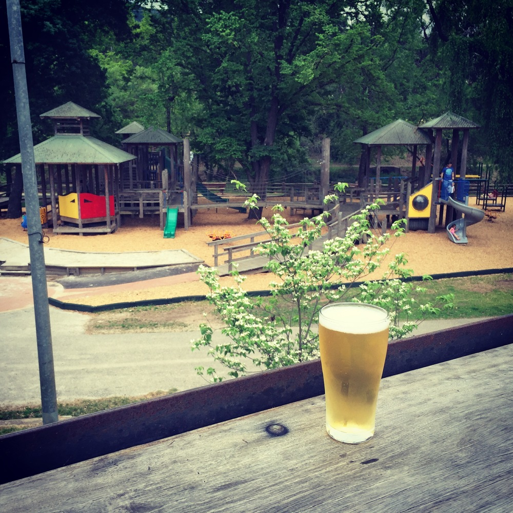View of Howett Park Playground from Bright Brewery