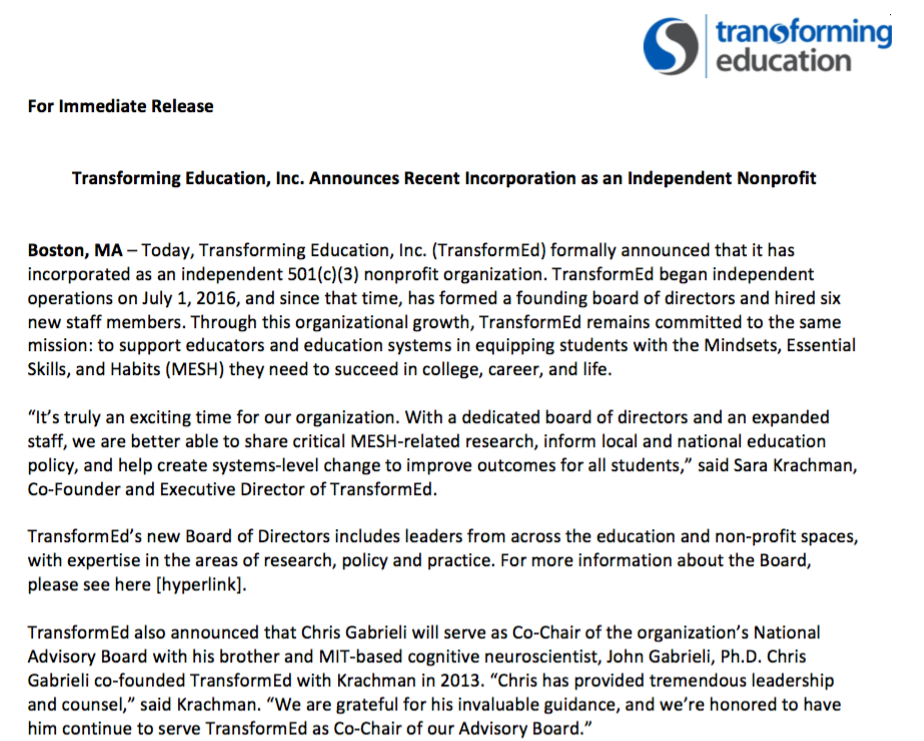 Press Release - TE Announces Incorporation as Independent Nonprofit | 11.23.16